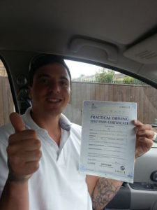 Savas passes his driving test in Portsmouth