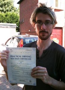 John McCarroll passes his driving test in Portsmouth
