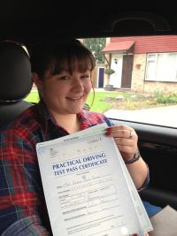 Becky Patten passes her driving test in Brentwood