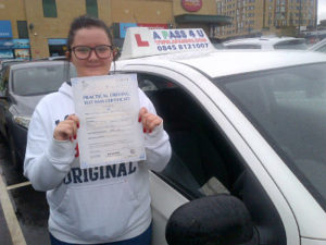 Grace Armstrong passes her driving test in Basildon