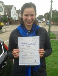 Hannah Klingman passed her driving test in Southend on Sea