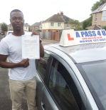 Ibrahim Baimah passes his driving test in Southampton