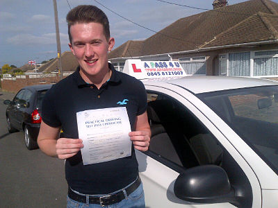 Liam Pilbro passes his driving etst in Basildon