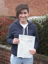 Natalie Simmons passes her driving test in Portsmouth