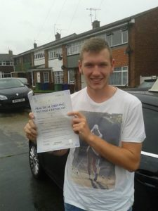 Ryan Earley passes his driving test in Southend on Sea