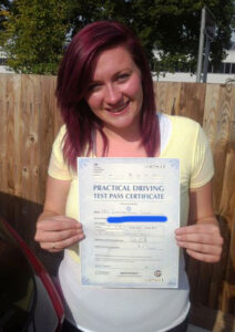 Shaynee Gouge passes her driving test in Portsmouth