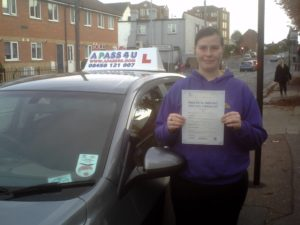 Charlotte Olden passes her driving test in Southend on Sea