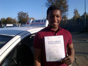 Wesley Mazwi passes his driving test in Southend on sea