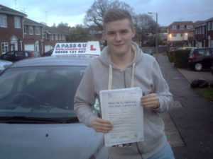 Aaron Knight passedhis driving test in Tilbury