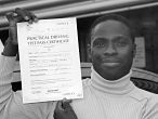 Amie Hasim passes his driving test in Sidcup