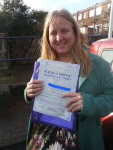 Alice Harlen passes her driving test in Portsmouth