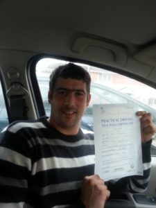 Billy Freeman passes his drivingetst in Lee on the Solent