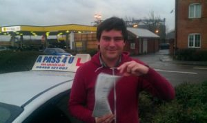 Chris Cook passes his driving course