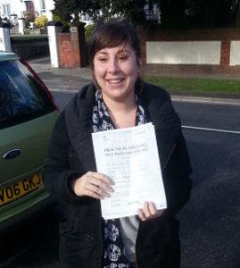Jade Garner passes her driving test in Portsmouth