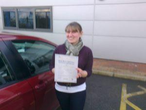 Joanne Elderton passes her driving test in Norwich Test Centre