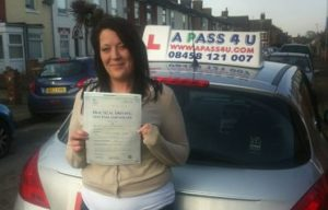 Katherine Hillsden passes her driving test in Norwich, Norfolk