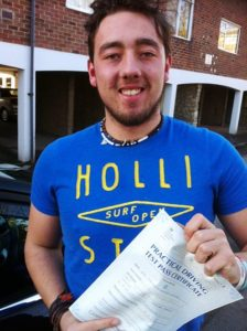 Ollie Osborn passes his drivingtest in Portsmouth