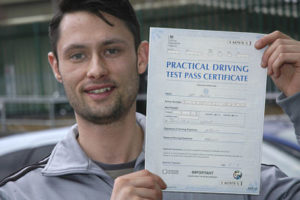 Sam Young passes his driving test