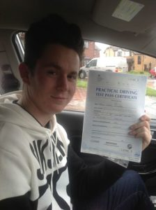 aaron Williams passes his driving test 1st time in Wrexham