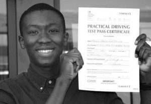 Bolaji Farinto passes his driving test in Sidcup