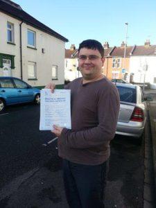 Paul Longden passes his driving test in Portsmouth