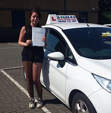 Georgina Head passes her driving test in Tilbury