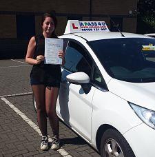 Georgina Head passes her driving test in Tilbury