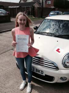 Courtney Birds passes her driving test