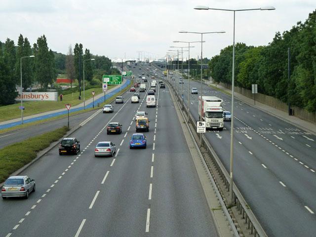 A13 towards London