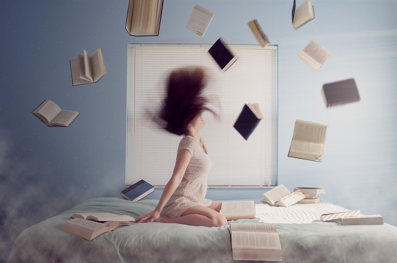 stressed woman with books